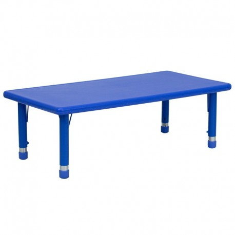 MFO 24''W x 48''L Height Adjustable Rectangular Blue Plastic Activity Table
