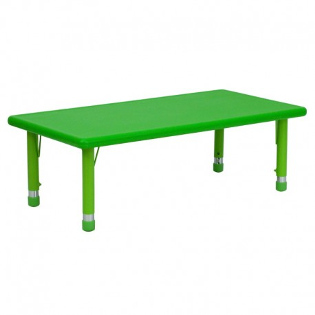 MFO 24''W x 48''L Height Adjustable Rectangular Green Plastic Activity Table