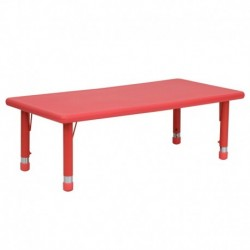 MFO 24''W x 48''L Height Adjustable Rectangular Red Plastic Activity Table