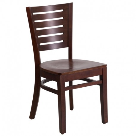 MFO Fervent Collection Slat Back Walnut Wooden Restaurant Chair