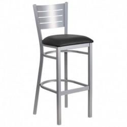 MFO Silver Slat Back Metal Restaurant Barstool - Black Vinyl Seat