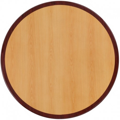 MFO 36'' Round Two-Tone Resin Cherry and Mahogany Table Top