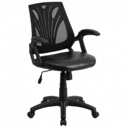 MFO Mid-Back Black Mesh Chair with Leather Seat