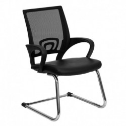 MFO Black Leather Office Side Chair with Black Mesh Back and Sled Base