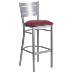 MFO Silver Slat Back Metal Restaurant Barstool - Burgundy Vinyl Seat