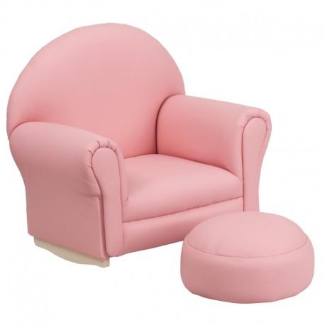 MFO Kids Pink Vinyl Rocker Chair and Footrest
