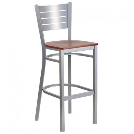 MFO Silver Slat Back Metal Restaurant Barstool - Cherry Wood Seat