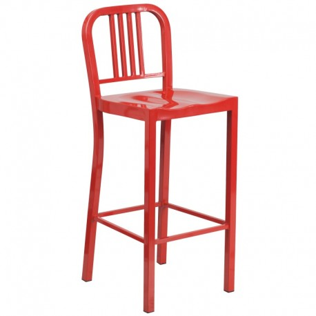 MFO 30'' Red Metal Bar Stool