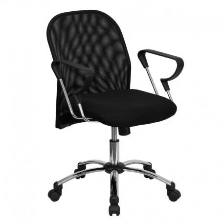 MFO Mid-Back Black Mesh Office Chair with Chrome Base