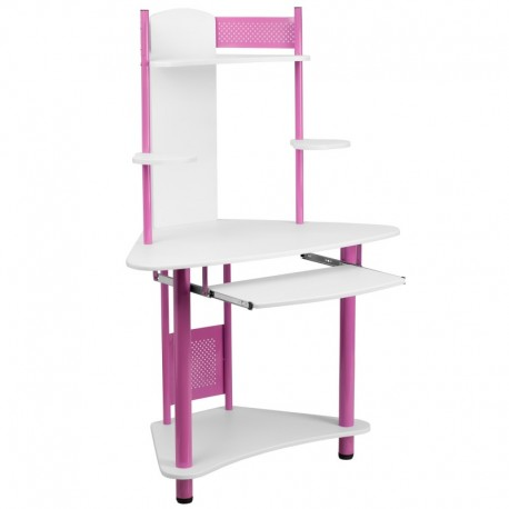 MFO Pink Corner Computer Desk with Hutch