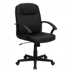MFO Mid-Back Black Leather Executive Swivel Office Chair