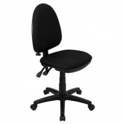 MFO Mid-Back Black Fabric Multi-Functional Task Chair with Adjustable Lumbar Support