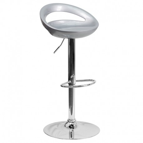 MFO Contemporary Silver Plastic Adjustable Height Bar Stool with Chrome Base