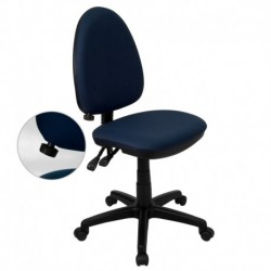 MFO Mid-Back Navy Blue Fabric Multi-Functional Task Chair with Adjustable Lumbar Support