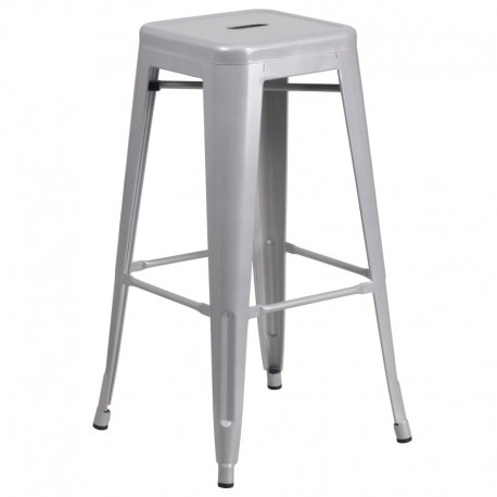 MFO 30'' Backless Silver Metal Bar Stool