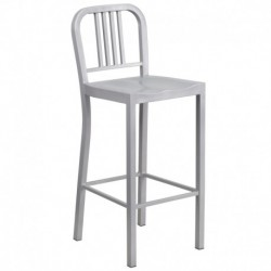 MFO 30'' Silver Metal Bar Stool
