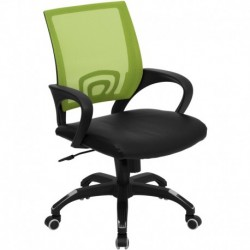 MFO Mid-Back Green Mesh Computer Chair with Black Leather Seat