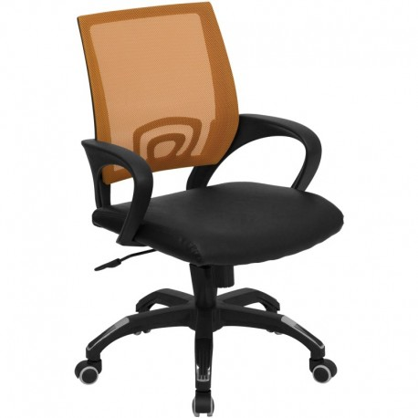 MFO Mid-Back Orange Mesh Computer Chair with Black Leather Seat