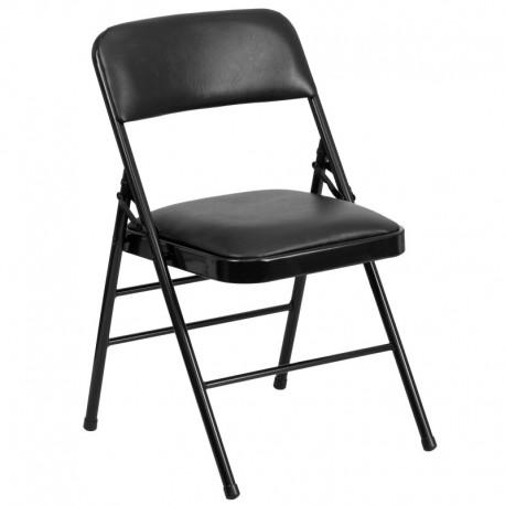 MFO Triple Braced Black Vinyl Upholstered Metal Folding Chair