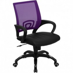 MFO Mid-Back Purple Mesh Computer Chair with Black Leather Seat