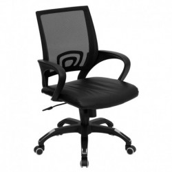 MFO Mid-Back Black Mesh Computer Chair with Black Leather Seat