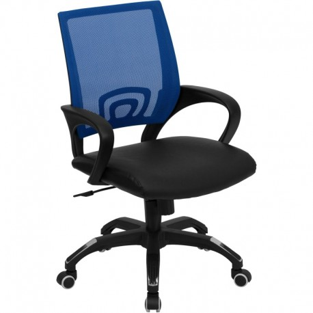 MFO Mid-Back Blue Mesh Computer Chair with Black Leather Seat