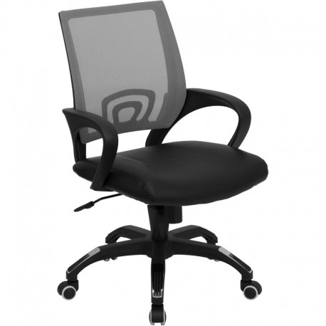 MFO Mid-Back Gray Mesh Computer Chair with Black Leather Seat