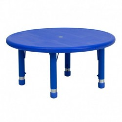 MFO 33'' Round Height Adjustable Blue Plastic Activity Table