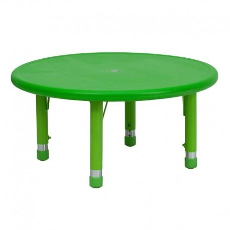 MFO 33'' Round Height Adjustable Green Plastic Activity Table