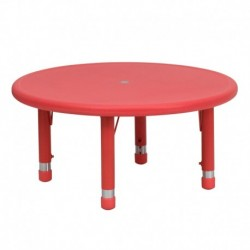 MFO 33'' Round Height Adjustable Red Plastic Activity Table