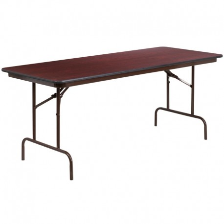 MFO 30'' x 72'' Rectangular Walnut Melamine Laminate Folding Banquet Table