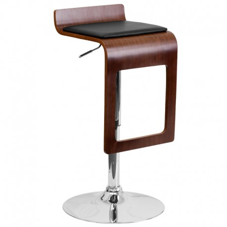 MFO Walnut Bentwood Adjustable Height Bar Stool with Black Vinyl Seat and Drop Frame