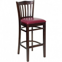 MFO Walnut Finished Vertical Slat Back Wooden Restaurant Bar Stool - Burgundy Vinyl Seat