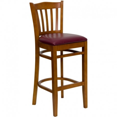 MFO Cherry Finished Vertical Slat Back Wooden Restaurant Bar Stool - Burgundy Vinyl Seat