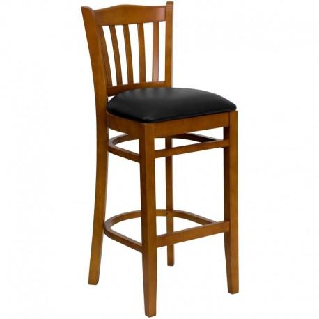 MFO Cherry Finished Vertical Slat Back Wooden Restaurant Bar Stool - Black Vinyl Seat
