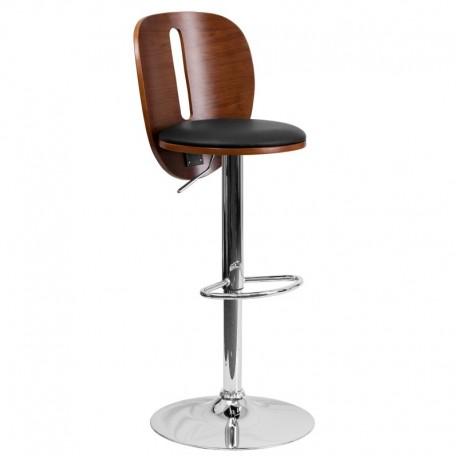 MFO Walnut Bentwood Adjustable Height Bar Stool with Black Vinyl Seat and Cutout Back