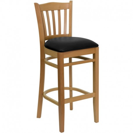 MFO Natural Wood Finished Vertical Slat Back Wooden Restaurant Bar Stool - Black Vinyl Seat