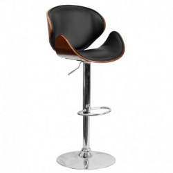 MFO Walnut Bentwood Adjustable Height Bar Stool with Curved Black Vinyl Seat and Back