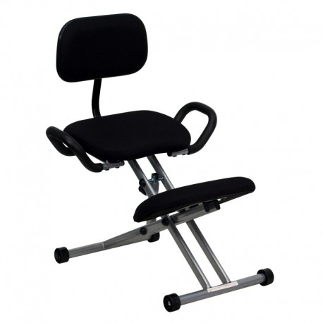 MFO Ergonomic Kneeling Chair in Black Fabric with Back and Handles