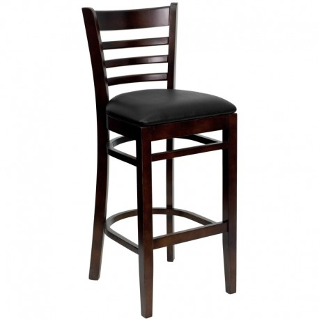MFO Walnut Finished Ladder Back Wooden Restaurant Bar Stool - Black Vinyl Seat