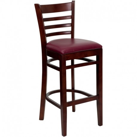 MFO Mahogany Finished Ladder Back Wooden Restaurant Bar Stool - Burgundy Vinyl Seat