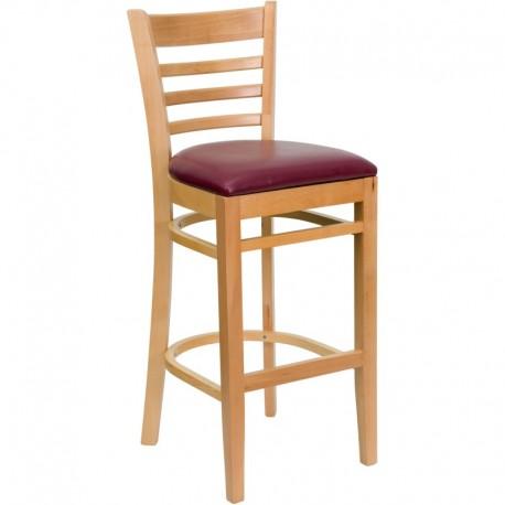 MFO Natural Wood Finished Ladder Back Wooden Restaurant Bar Stool - Burgundy Vinyl Seat