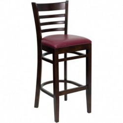 MFO Walnut Finished Ladder Back Wooden Restaurant Bar Stool - Burgundy Vinyl Seat