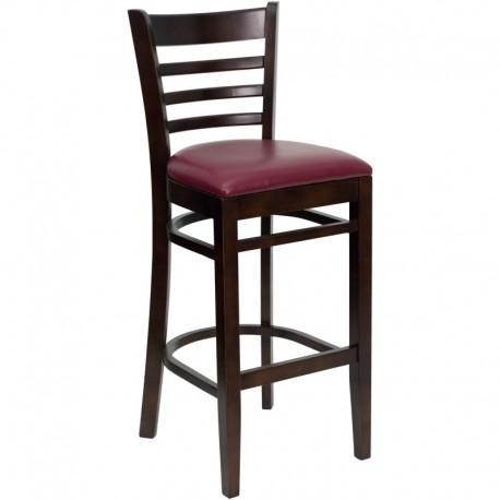 MFO Walnut Finished Ladder Back Wooden Restaurant Bar Stool - Burgundy Vinyl Seat