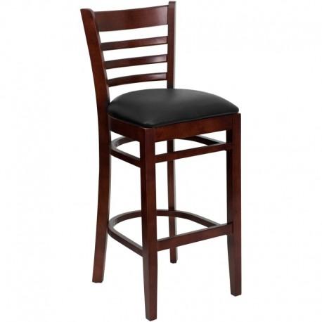 MFO Mahogany Finished Ladder Back Wooden Restaurant Bar Stool - Black Vinyl Seat