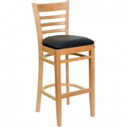 MFO Natural Wood Finished Ladder Back Wooden Restaurant Bar Stool - Black Vinyl Seat