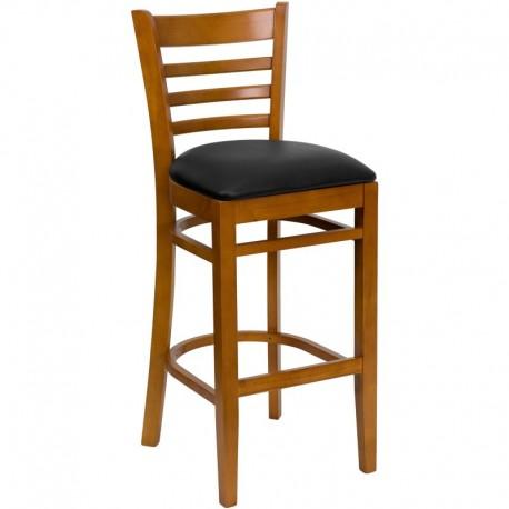 MFO Cherry Finished Ladder Back Wooden Restaurant Bar Stool - Black Vinyl Seat