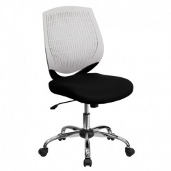 MFO Mid-Back White Designer Back Task Chair with Chrome Base