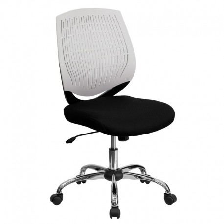 MFO Mid-Back White Designer Back Task Chair with Chrome Base