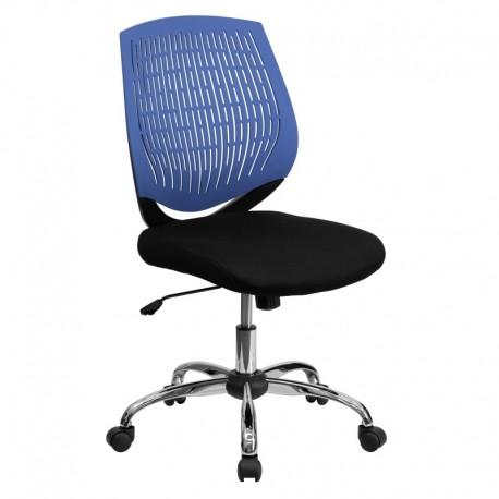 MFO Mid-Back Blue Designer Back Task Chair with Chrome Base